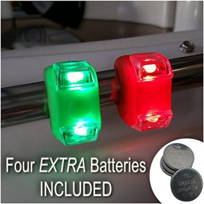 Green & Red Portable Marine LED Boating Lights – Boat Bow or Stern Safety Lights for Maximum Attention – Attaches to Handrails For Extra Lighting and For Emergencies When Main Lights Aren't Functional – Waterproof – LIFETIME WARRANTY