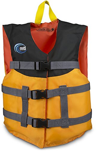 MTI Adventurewear Youth Livery Life Jacket, Mango/Black, 50-90 lb