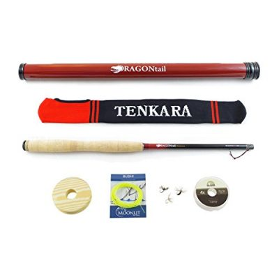DRAGONtail Tenkara Shadowfire 360 12′ Tenkara Fly Fishing Rod PLUS Complete Starter Package – Flies, Leader, Tippet, Line Holder, Storage Tube, and Rod Sock