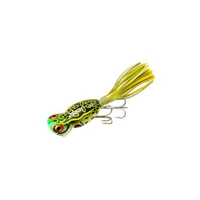 Arbogast Hula Popper Fishing Lure-2 in-Bull Frog – Chartreuse/White Skirt