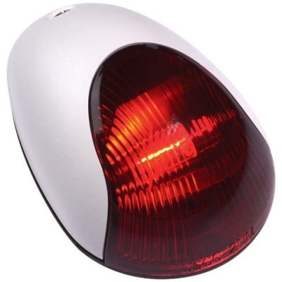 Attwood White Cover 2-Mile Vertical Mount Navigation Light (Port/Red Lens)