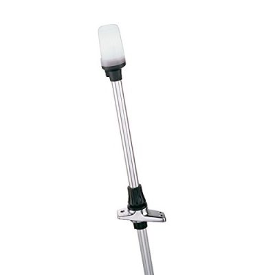 Perko 1611DP2CHR White All-Round Pole Light and Base with Telescoping Pole, 24-Inch
