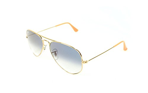 Ray-Ban AVIATOR LARGE METAL – GOLD Frame CRYSTAL GRADIENT LIGHT BLUE Lenses 62mm Non-Polarized