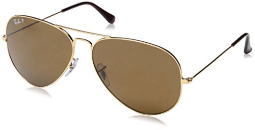 Ray-Ban AVIATOR LARGE METAL – GOLD Frame CRYSTAL BROWN POLARIZED Lenses 62mm Polarized