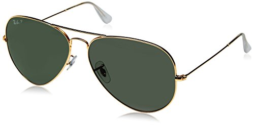 Ray-Ban AVIATOR LARGE METAL – GOLD Frame CRYSTAL GREEN POLARIZED Lenses 62mm Polarized