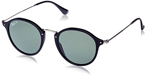 Ray-Ban Men's Acetate Man Polarized Round Sunglasses, Black, 49 mm