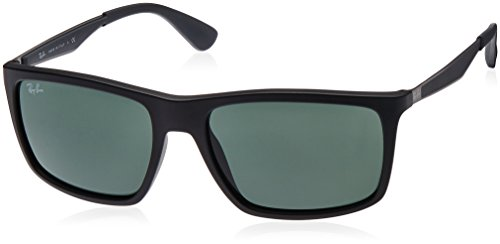 Ray-Ban INJECTED MAN SUNGLASS – MATTE BLACK Frame GREEN Lenses 58mm Non-Polarized