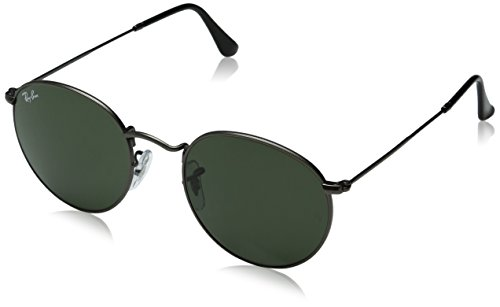 Ray-Ban ROUND METAL – MATTE GUNMETAL Frame CRYSTAL GREEN Lenses 50mm Non-Polarized