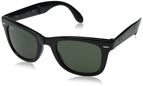 Ray-Ban FOLDING WAYFARER – BLACK Frame CRYSTAL GREEN Lenses 50mm Non-Polarized