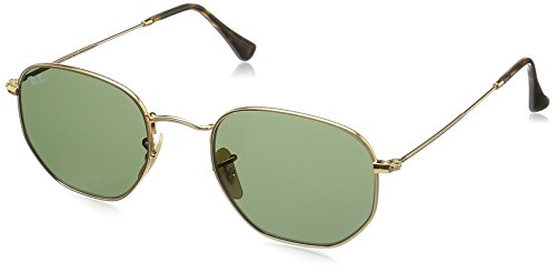 Ray-Ban METAL MAN SUNGLASS – GOLD Frame GREEN Lenses 51mm Non-Polarized