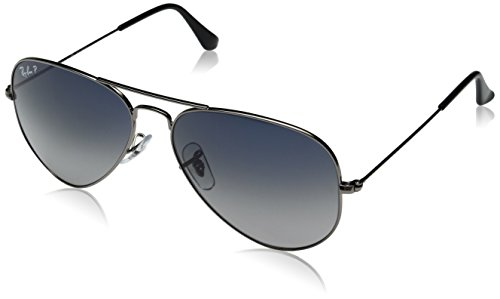 Ray-Ban AVIATOR LARGE METAL – GUNMETAL Frame CRYSTAL POLAR BLUE GRAD.GREY Lenses 58mm Polarized