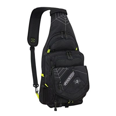 Spiderwire Black Sling Tackle Pack Backpack W/ 1 Medium Box SPB004